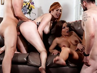 Britney Amber together with Lauren Phillips swap cum in a hardcore foursome