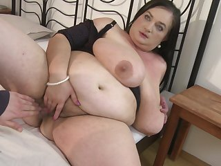 Fat old little one Stefanka C. uses their way mouth to make his cock disappear