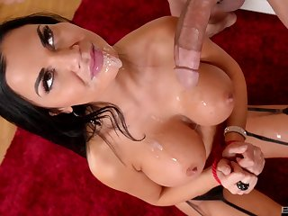 Jasmine Jae gets cum on her eminent fake tits with her hands tied surrounding