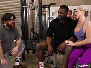 Cuckold liks a black mans cum off be incumbent on Christie Stevens boobs