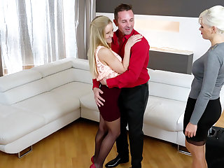 Steamy threesome with Italian with the addition of Hungarian blondes