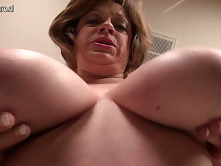 Mature American Ma with saggy fat tits