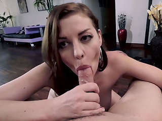 Bosomy stepmom shows off her fellatio and handjob skill