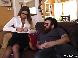 Brooklyn Chase cuckolds her man with an increment of fucks two big black cocks