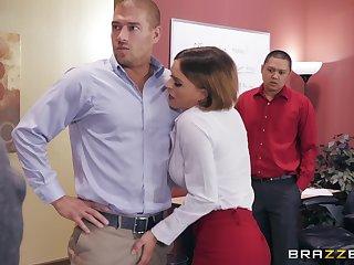 Horny office slut Krissy Lynn not fair swallowing cum by her boss
