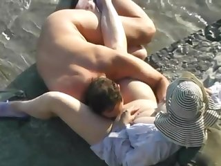 Mature husband and wed having sex vulnerable slay rub elbows with beach.
