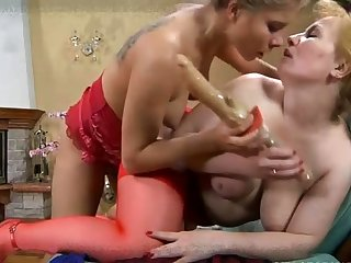 Two mature hot moms pigeon-holing and toying