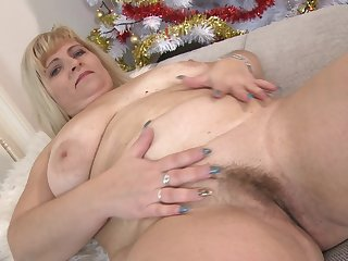 Chubby adult blonde unprofessional BBW Stefana E. stuffs her pussy with toys