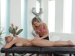 Of a male effeminate oiled up pussy massage with Bridgette B plus Christy Love