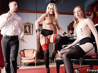 Slave maids punished and troika had sexual intercourse