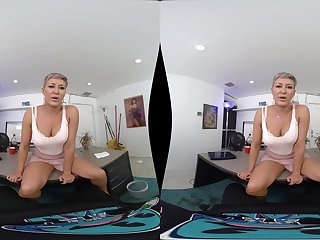 POV VR blowjob increased by reverse cowgirl ride from blonde MILF Ryan Keely