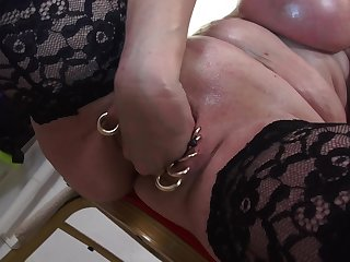 Busty grown on touching blonde MILF Marina Montana plays with her oiled on touching tits