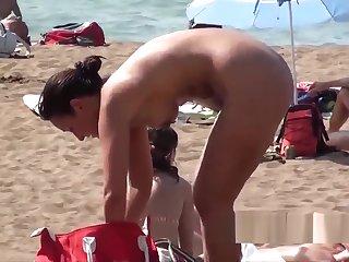 Hot Naked Blonde Nudist Milf Showering Voyeur Beach Spy