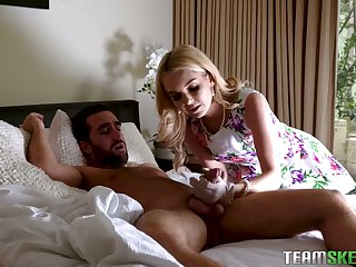 Still wet behind the ears eyed tow-haired beauty Daphne Dare bows to give a realistic blowjob