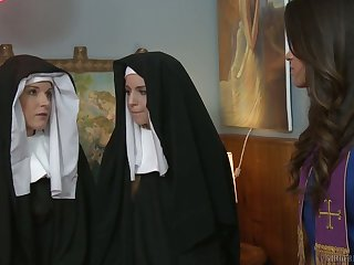 Sinful nuns get nasty and prize having first passionate lesbian copulation