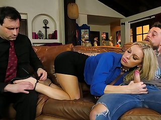 Whore wife Kenzie Taylor rides a big dick in front of her nerd husband
