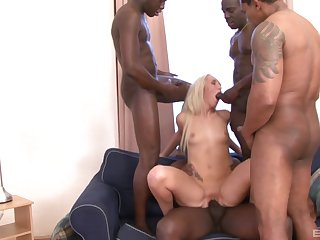 Long haired blonde Jenny Simons gangbanged and covered round cum