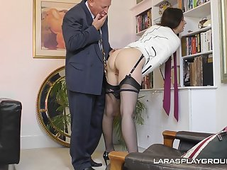 Adult amateur brunette Paul strips in the office together with teases her boss