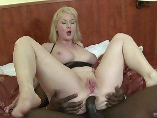 Pale amateur mature blonde Monik ass fucked hard by a black guy