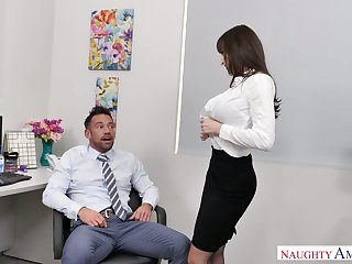 Stunning coupled with curvy office slut Lexi Luna blows cock of her colleague