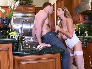 big-busted Kelly Madison rides chiefly a stranger's fat penis nigh the Nautical galley