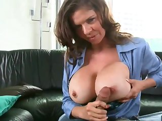 Big breasted functionary sucking and fucking everlasting cock beside POV