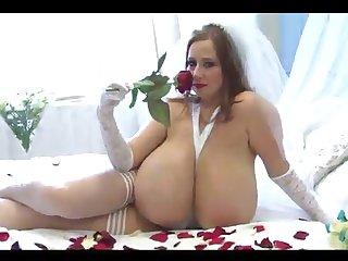 Eradicate affect bosomy piece of baggage masturbates sniffing red rose