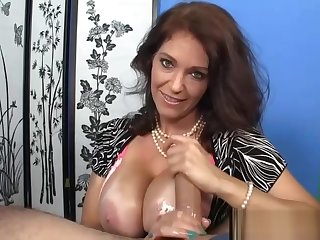 Busty full-grown titfucking coupled with wanking in POV