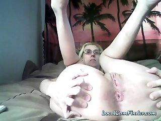 Granny with saggy tits showing and playing with will not hear of ass