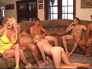 Horny swingers hardcore group sex party