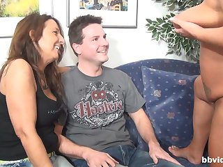 Duo horny matures want to share hard and heavy pecker on the sofa