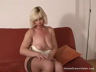 Mature blonde gets a big blacklist horseshit shoved up her ass