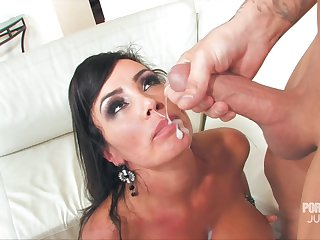 MILF Lisa Ann's complexion is covered in sperm after she takes care of him