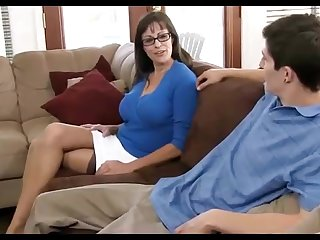 Dark haired mummy loves wearing ebony pantyhose, while hotwife on her hubby in the living cell