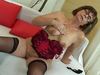 Adult amateur granny Jana strips with the addition of gets fucked by a fat weasel words