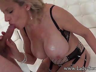 Lady Sonia used by masked guy - blowjob and cum on tits