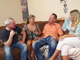 Two swinger couples enjoy having exploitatory and crazy foursome sexual intercourse