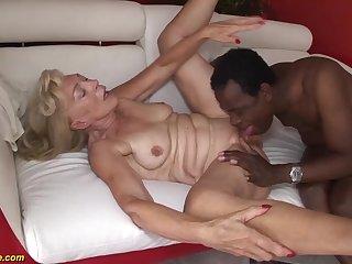 our sexy old granny enjoys her first rough big black cock interracial porn homework