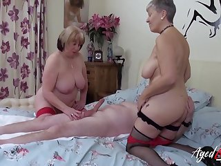 Two mature whores tasty his Hawkshaw to a threesome