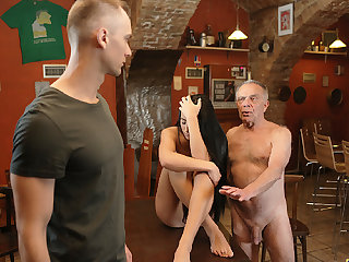 DADDY4K. Old dad seduces beautiful dark quill while son..