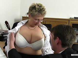 Hardcore office systematize sex with mature nerdy secretaries