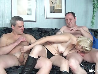 Mature sucks two men and then fucks changeless