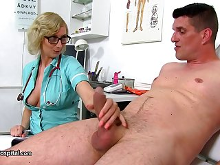 Mom Nurse Give Her Patient A Nice Ha - heavy-breasted