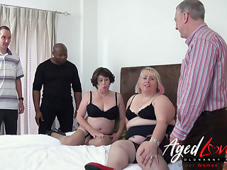 Horny Grown-up Sluts Orgy - Three Guys versus Two Raunchy Ladies