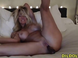 Horny blonde girlfriend loves close to fuck herself with a dildo