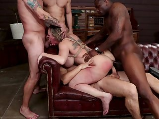 Obedient woman nigh fucked in scenes of unimpassioned BDSM