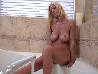 horny blonde Olivia Blu masturbates roughly involve c fancy using will not hear of hand