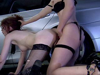 Rough strap-on porn in the parking come up to b become with two insolent milfs