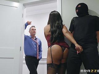 Busty black MILF Aryana Adin gets fucked by burglar