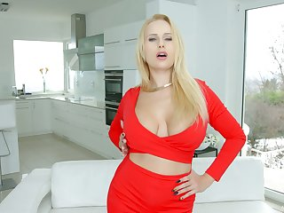 Lewd blond milf Angel Wicky gives her fan and gets her anus nailed hard